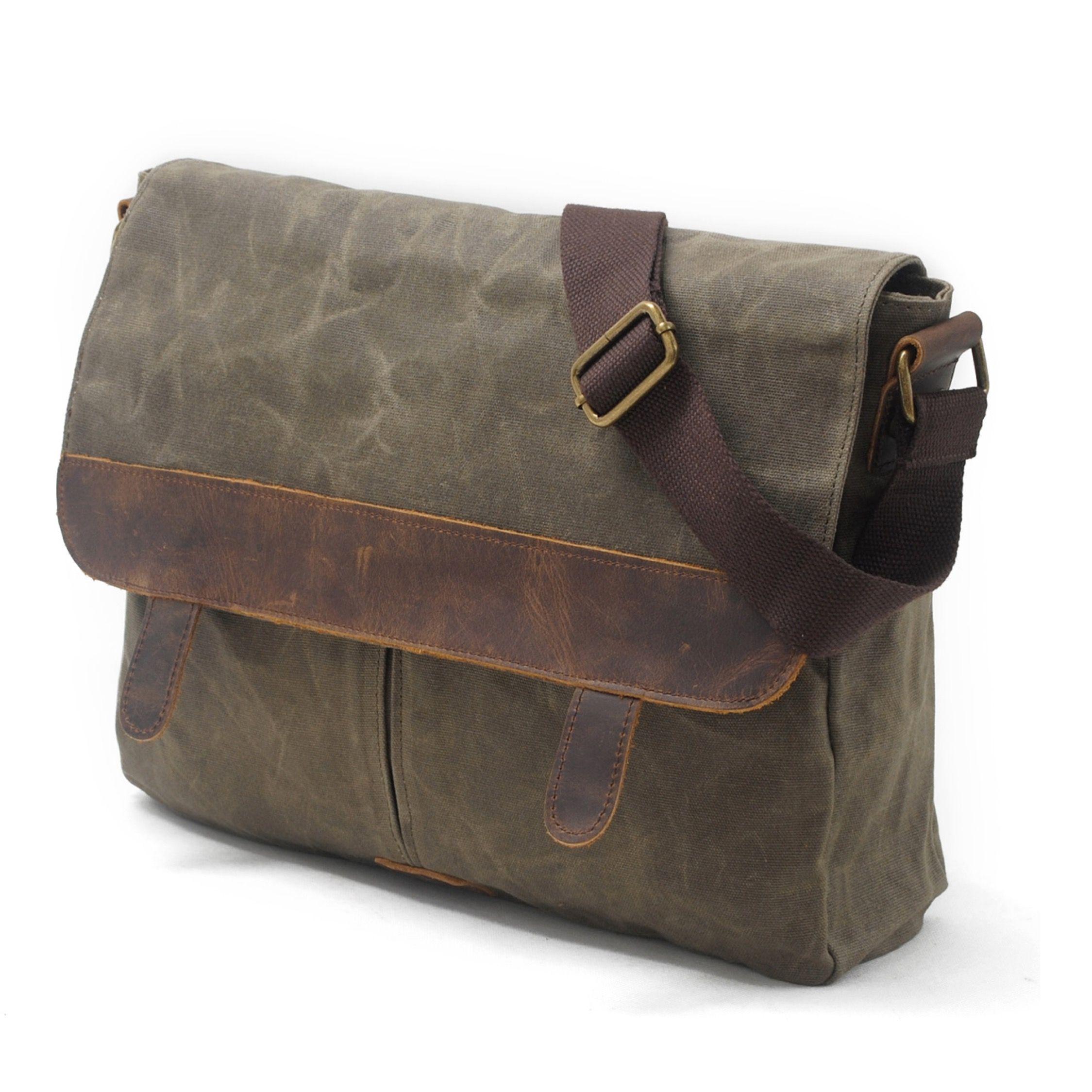 Handmade Leather Green Messenger Bag Satchel Briefcase Men Waxed Canvas