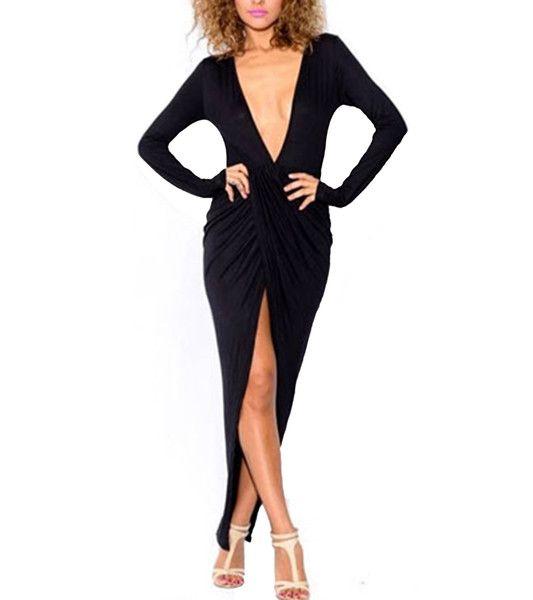Maxi black wrap around dress