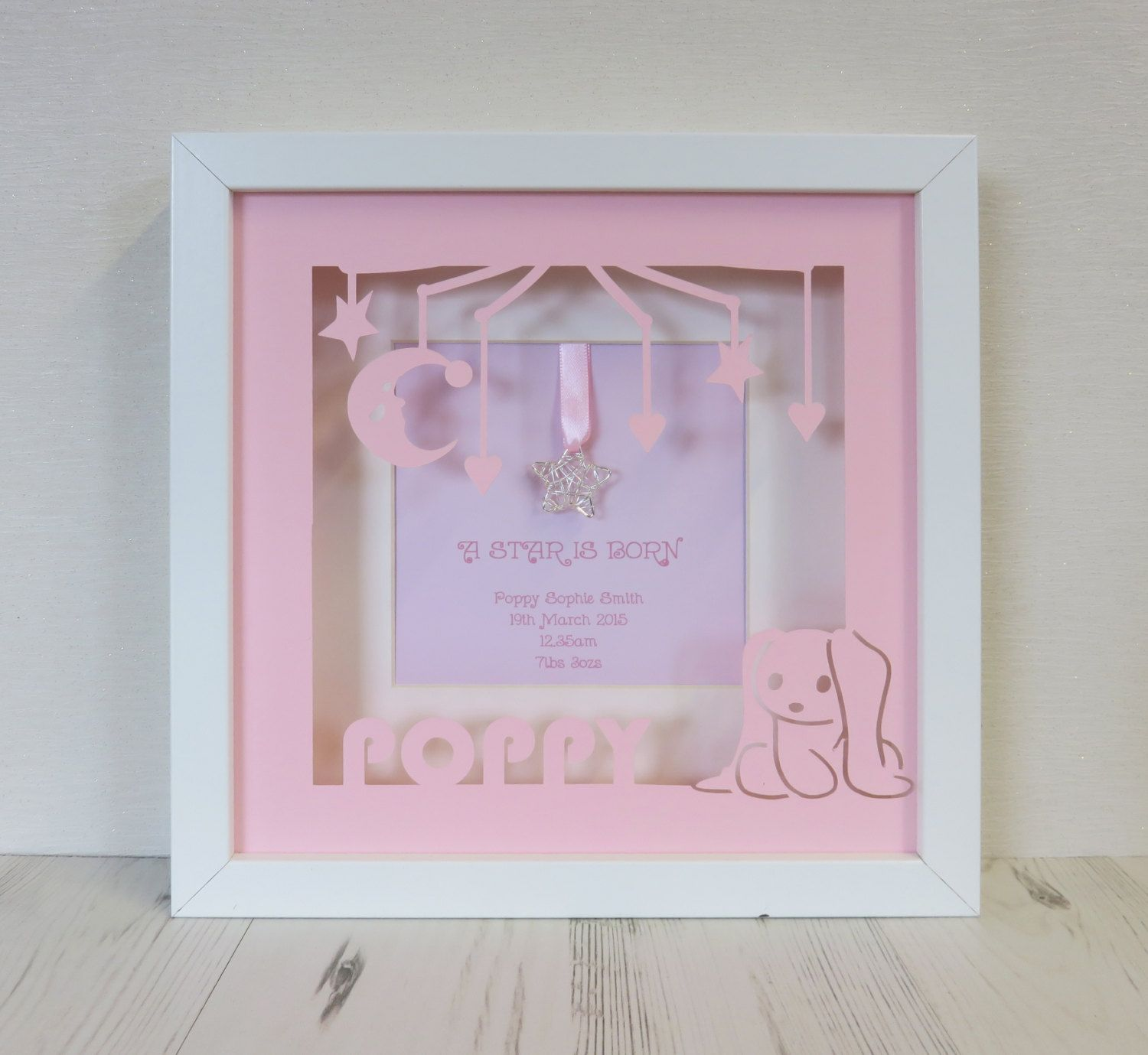 Personalised butterfly heart printed paper cut box frame art personalised new baby girl a star is born paper cut border box frame art jeuxipadfo Images