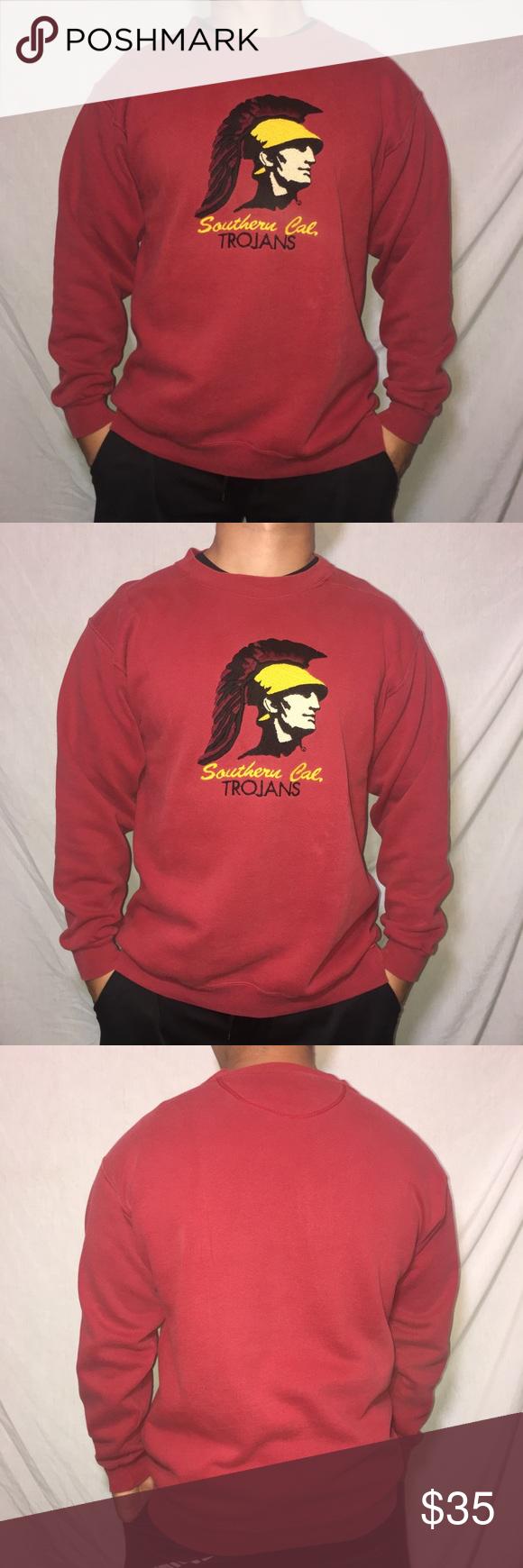 Vintage Usc Trojans Crew Neck Sweater Vintage Crew Neck Usc Trojans Sweater With A Huge Embroidered Logo In Great Crew Neck Sweater Sweaters Sweaters Crewneck [ 1740 x 580 Pixel ]