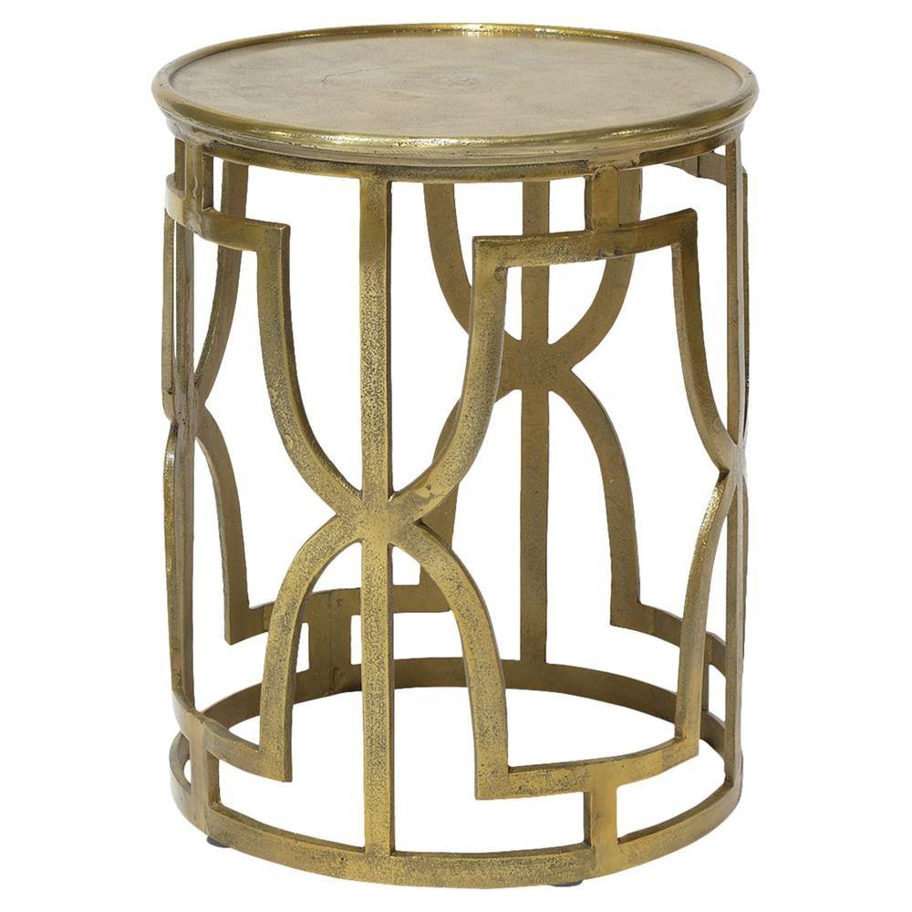 Palecek Kim Global Bazaar Metallic Gold Round End Table Side Table Decor Luxury Furniture Living Room