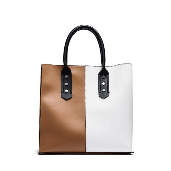 f97422dc5f RoseWholesale - Rosewholesale Faux Leather Two Tone Tote Bag - AdoreWe.com