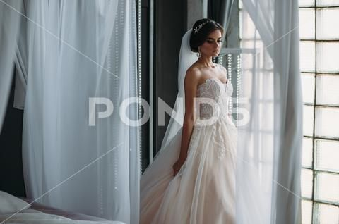 wedding beauty preparation Preparation of the bride on a wedding day Beautiful brunette girl in a white Stock Photos dayBeautifulweddingPreparation