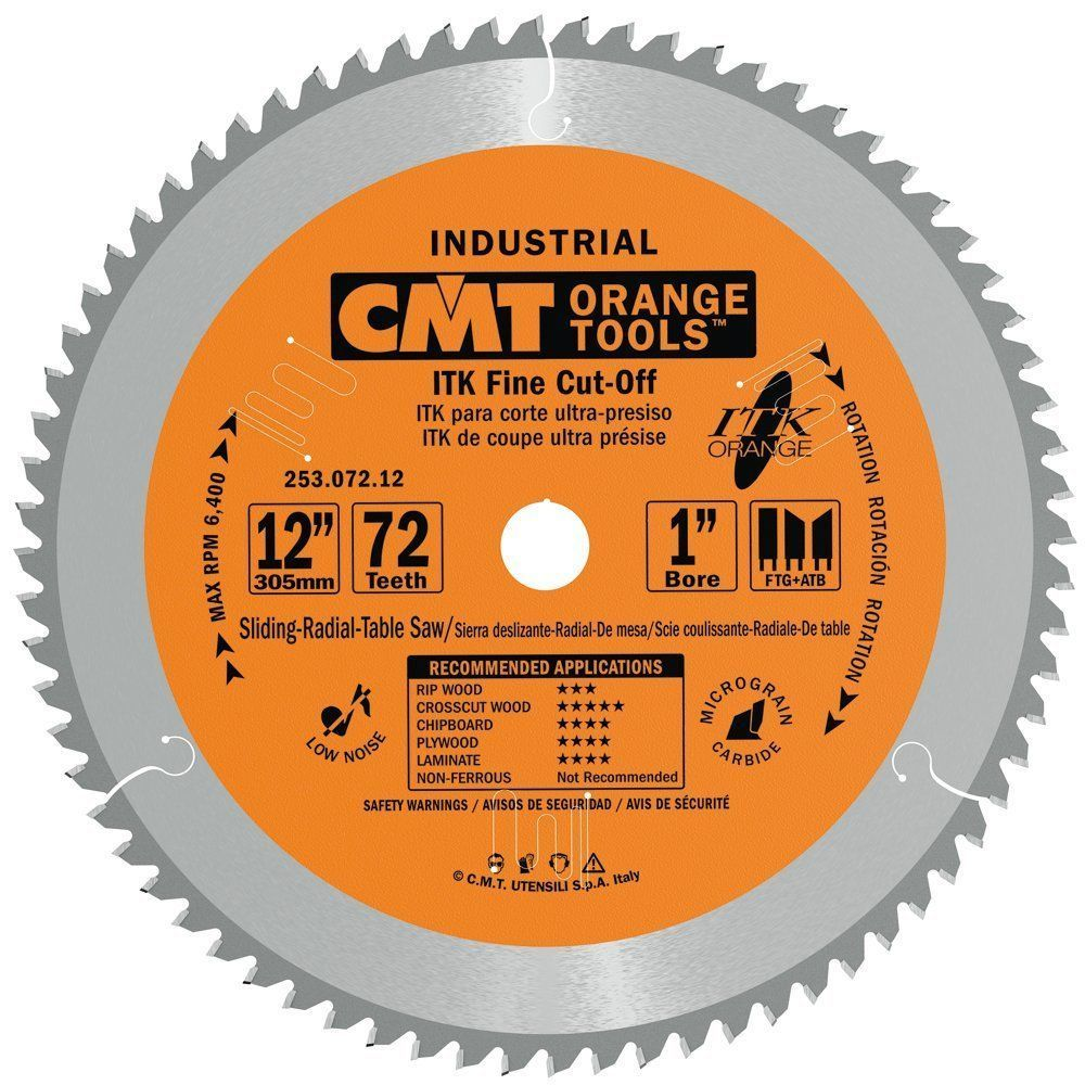 Cmt 253 072 12 Itk Industrial Finish Sliding Compound Miter Saw Blade 12 Inch X 72 Teeth 1ftg 2atb Used Woodworking Tools Sliding Compound Miter Saw Table Saw