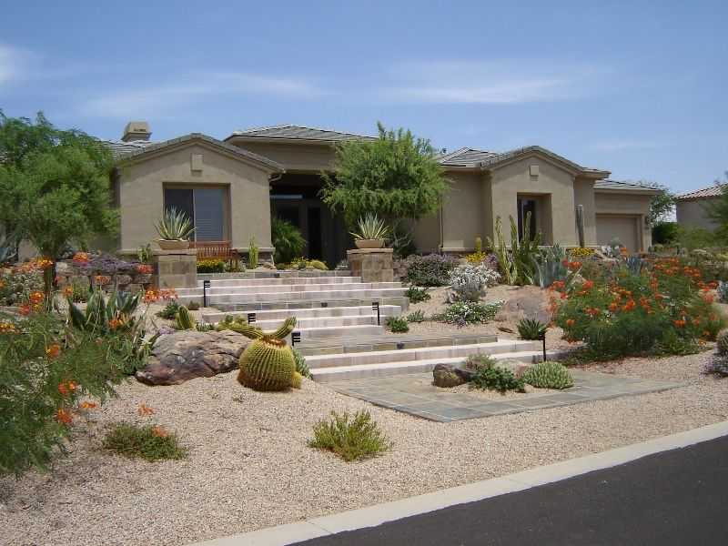 Front yard xeriscape ideas desert landscaping doesn 39 t for Colorful front yard landscaping