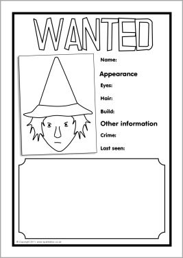 Witch Wanted Poster Writing Frames Sb3721 Sparklebox Witch