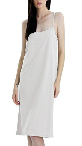 94c60d1dbe7 Shop Lev Womens Long Solid Knit Basic Full Slip Dress with adjustable straps     Click