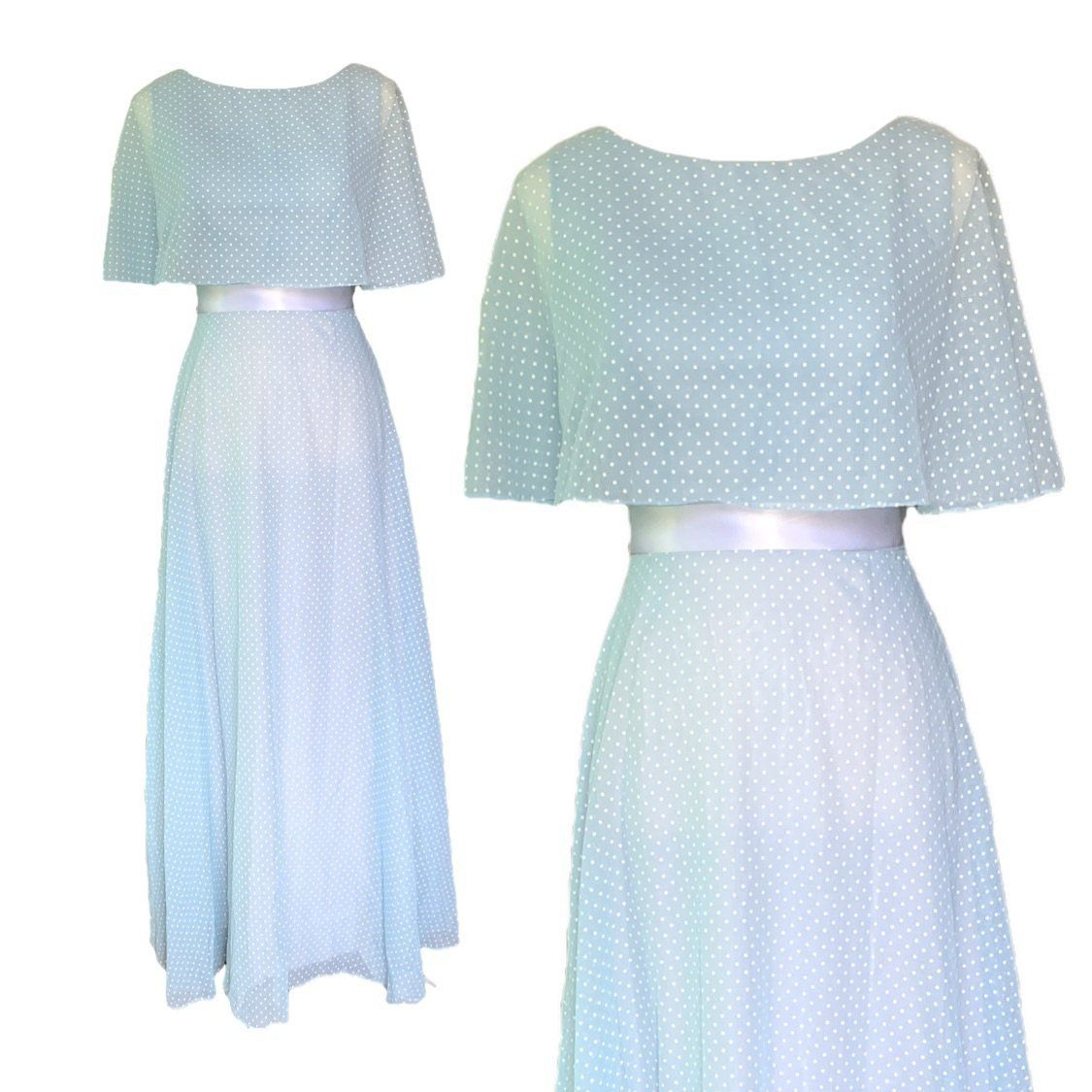 Vintage Polka Dot Dress and Capelet by Miss Elliette. Classic Baby Blue with White Polka Dots.