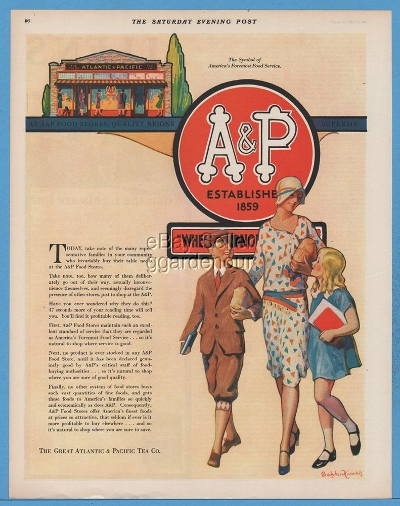 1929 Great Atlantic & Pacific Tea A&P Grocery Food Store Bradshaw…