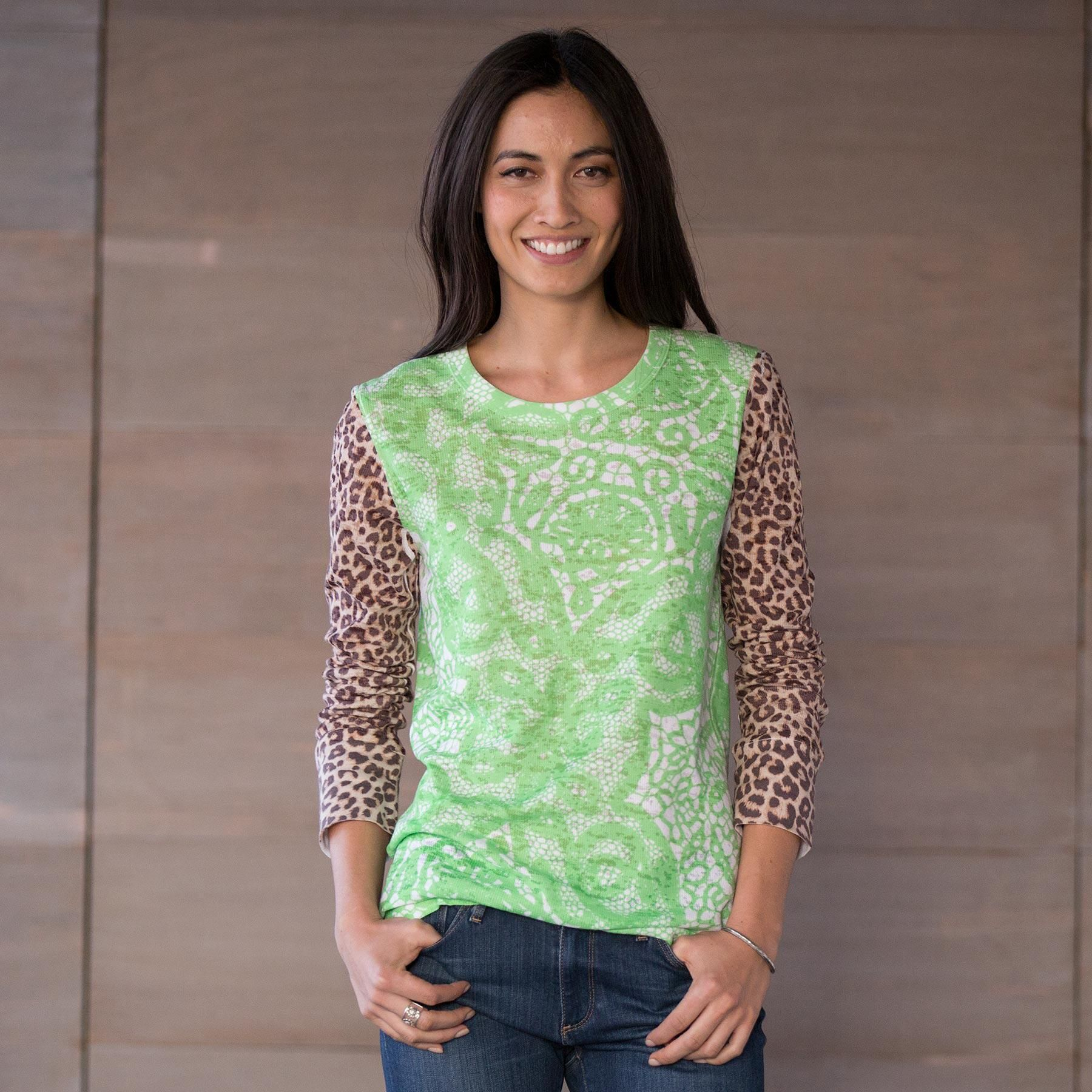 "RAINFOREST TEE -- Wear your wild side on your sleeve in our burnout tee of cool green shades in a delicate lace print. Cotton/polyester. Machine wash. USA. Exclusive. Sizes XS (2), S (4 to 6), M (8 to 10), L (12 to 14), XL (16). Approx. 26-1/2""L."