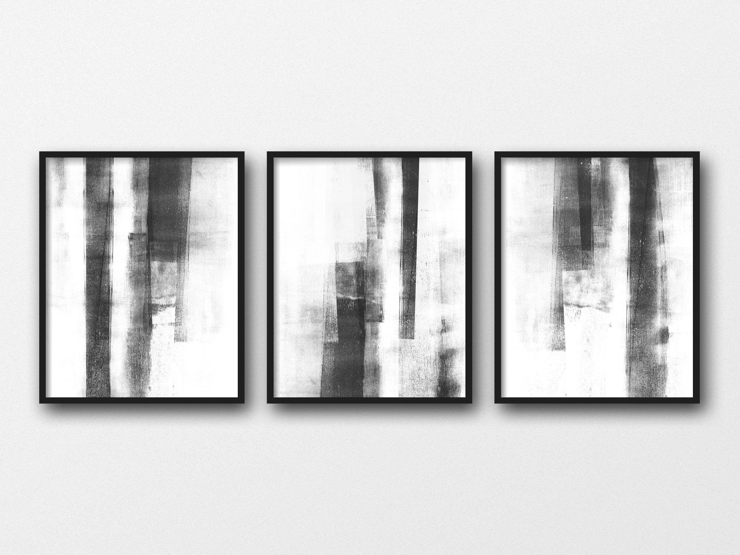 Black And White Abstract Print Set Of 3 Prints Modern Etsy