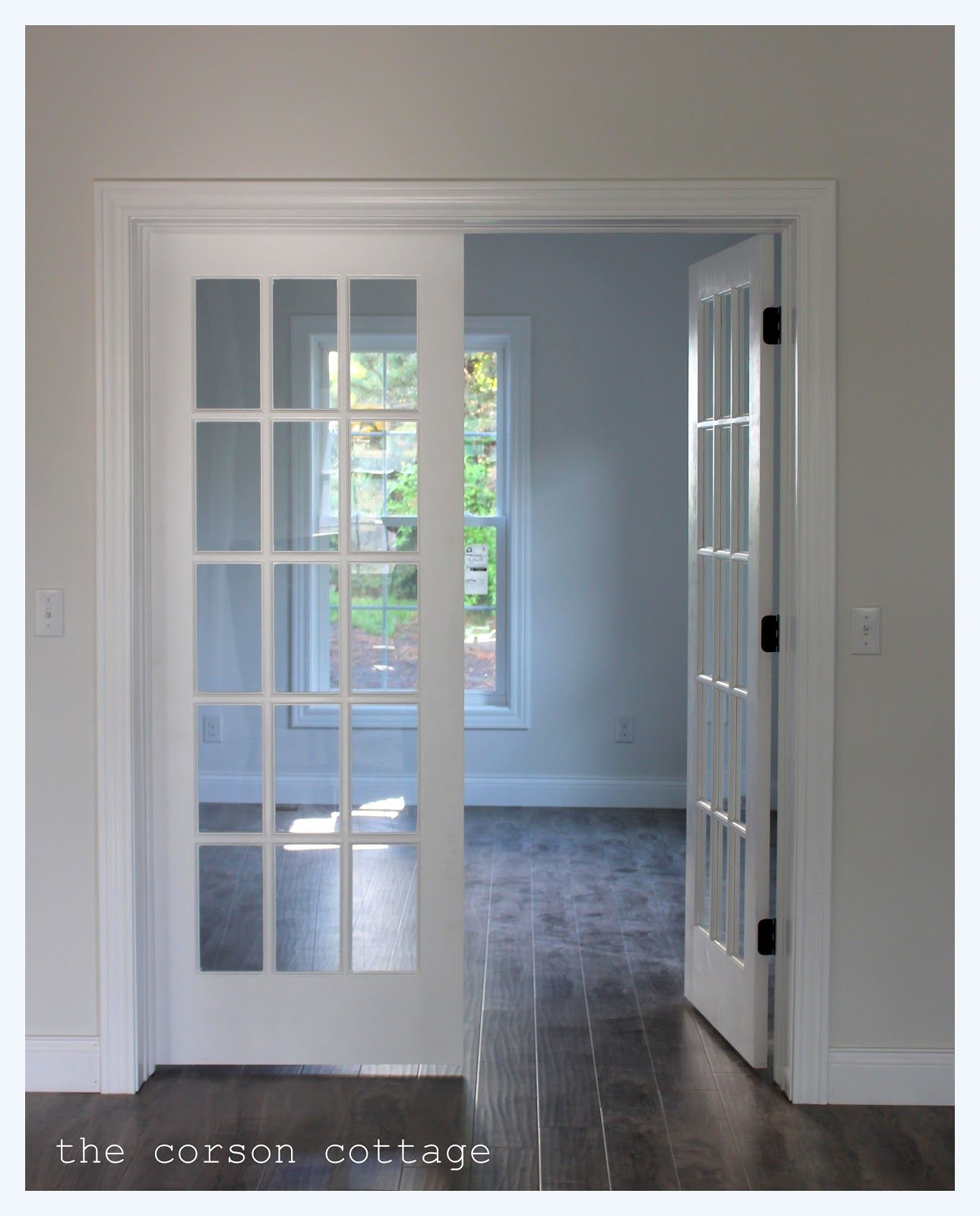 Enchanting white glass lite entry french door frames with for Wooden french doors