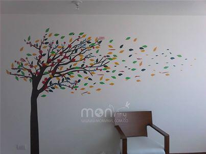 Vinilo montaje arbol con hojas al viento vinilos for Arboles decorativos para jardin