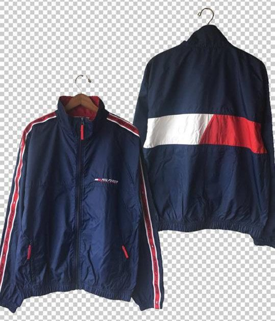 6fe7cd1004f7 90s Hilfiger Athletic Back Flag Windbreaker w Ribbon Sleeves ...