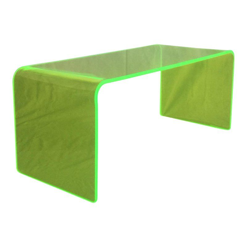 Memphis Neon Green Lucite Waterfall Coffee Table Neon Green