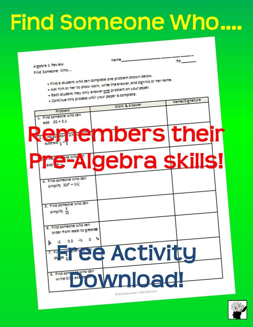 Free Pre-Algebra Skills Review Activity ... Find Someone Who ...
