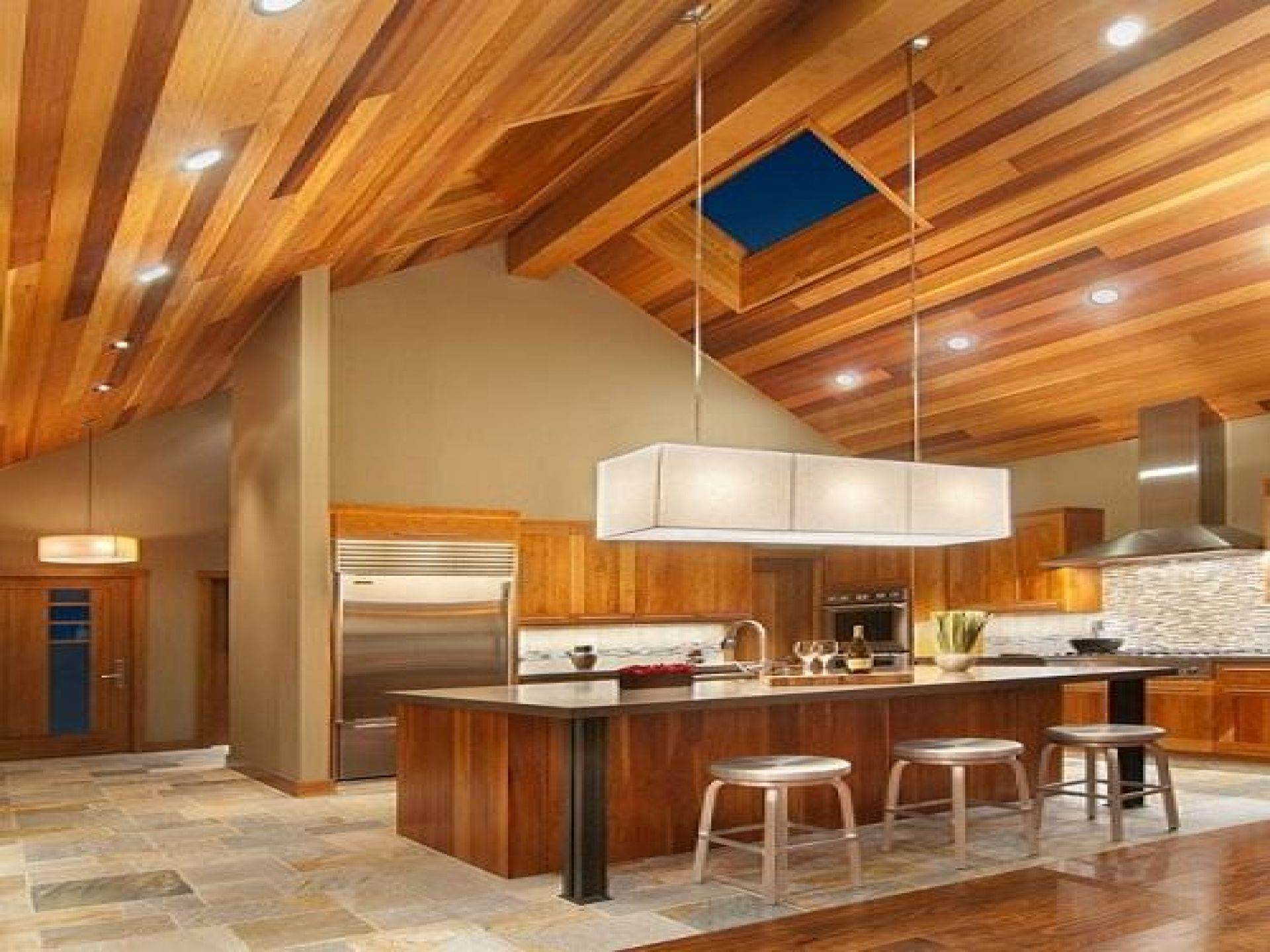 Multi-color wood ceiling recessed lighting modern fixture, tile ...