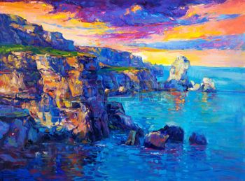 abstract rock cliffs and water paintings - Google Search