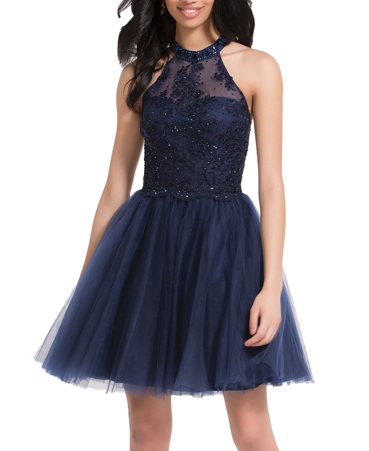 Halter neck a line navy blue tulle lace short homecoming dressnavy