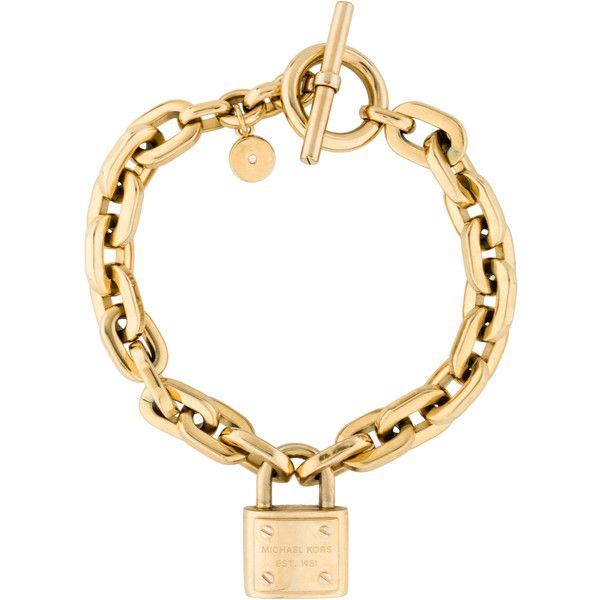 Michael Kors Lock Bracelet 190 Sar Liked On Polyvore Featuring Jewelry Bracelets Charm Bangle Gold Tone And