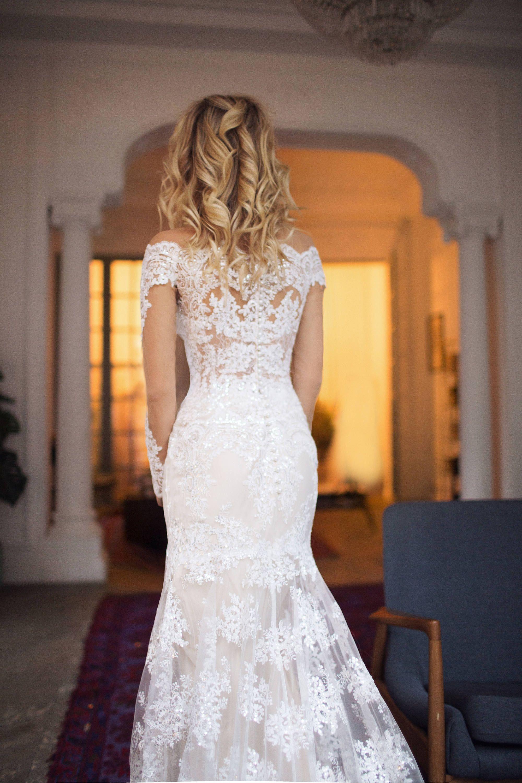 Off The Shoulder Wedding Dress Nektaria Long Sleeve Lace Wedding