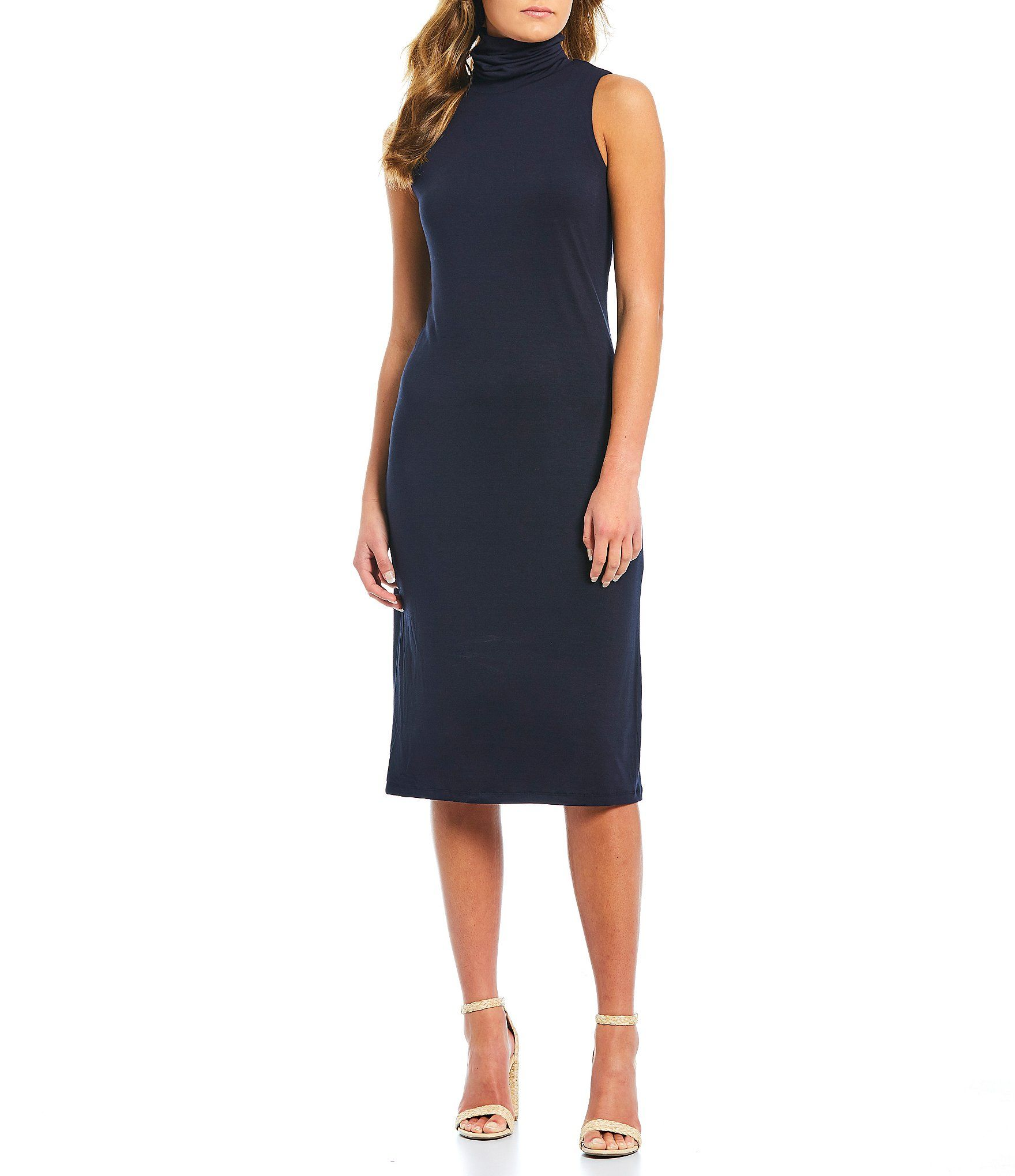 Cremieux Mina Knit Turtleneck Sleeveless Midi Sheath Dress Navy Xs Midi Sheath Dress High Fashion Street Style Fashion [ 2040 x 1760 Pixel ]