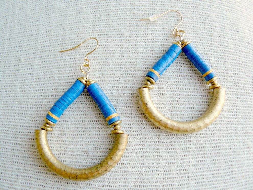 Beaded Dangle Hoop Earrings- Loop de Loop in Blue by EtymologyJewelry on Etsy https://www.etsy.com/listing/200007305/beaded-dangle-hoop-earrings-loop-de-loop