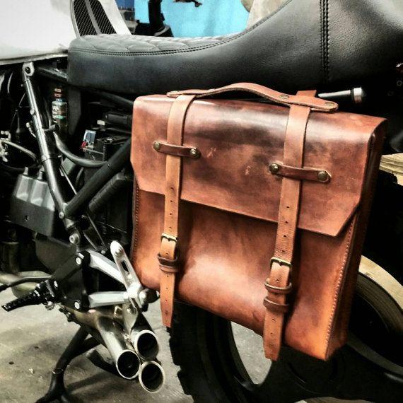 Saddle bag genuine leather black Brave Classics bike
