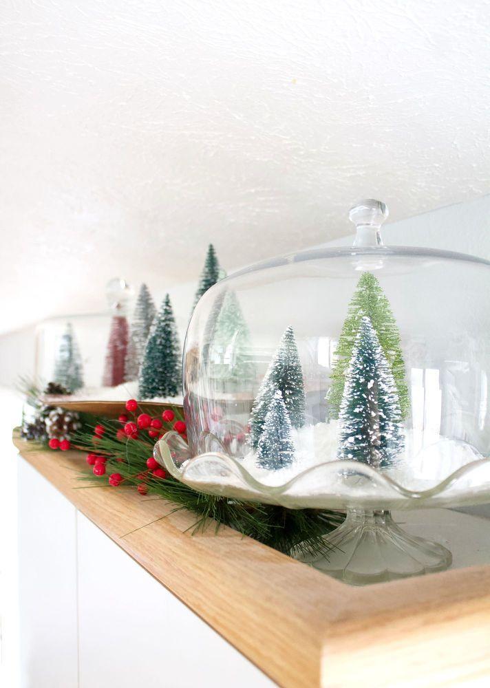 Christmas Terrarium With Bottle Brush Christmas Trees Bottle
