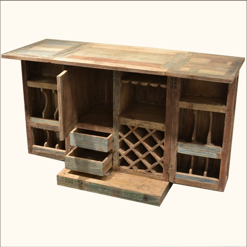 Ordinaire Rustic Reclaimed Wood Expandable Wine Liquor Bar Cabinet Glass Holder