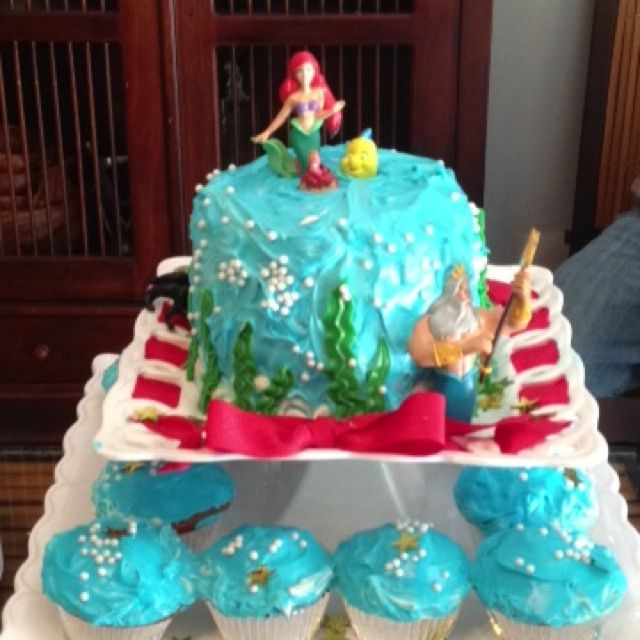 Little mermaid birthday cake made by me Red velvet with cream