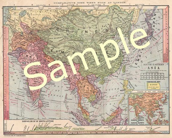 Printable Map Of China India Map Japan Map Map Of Asia 1900