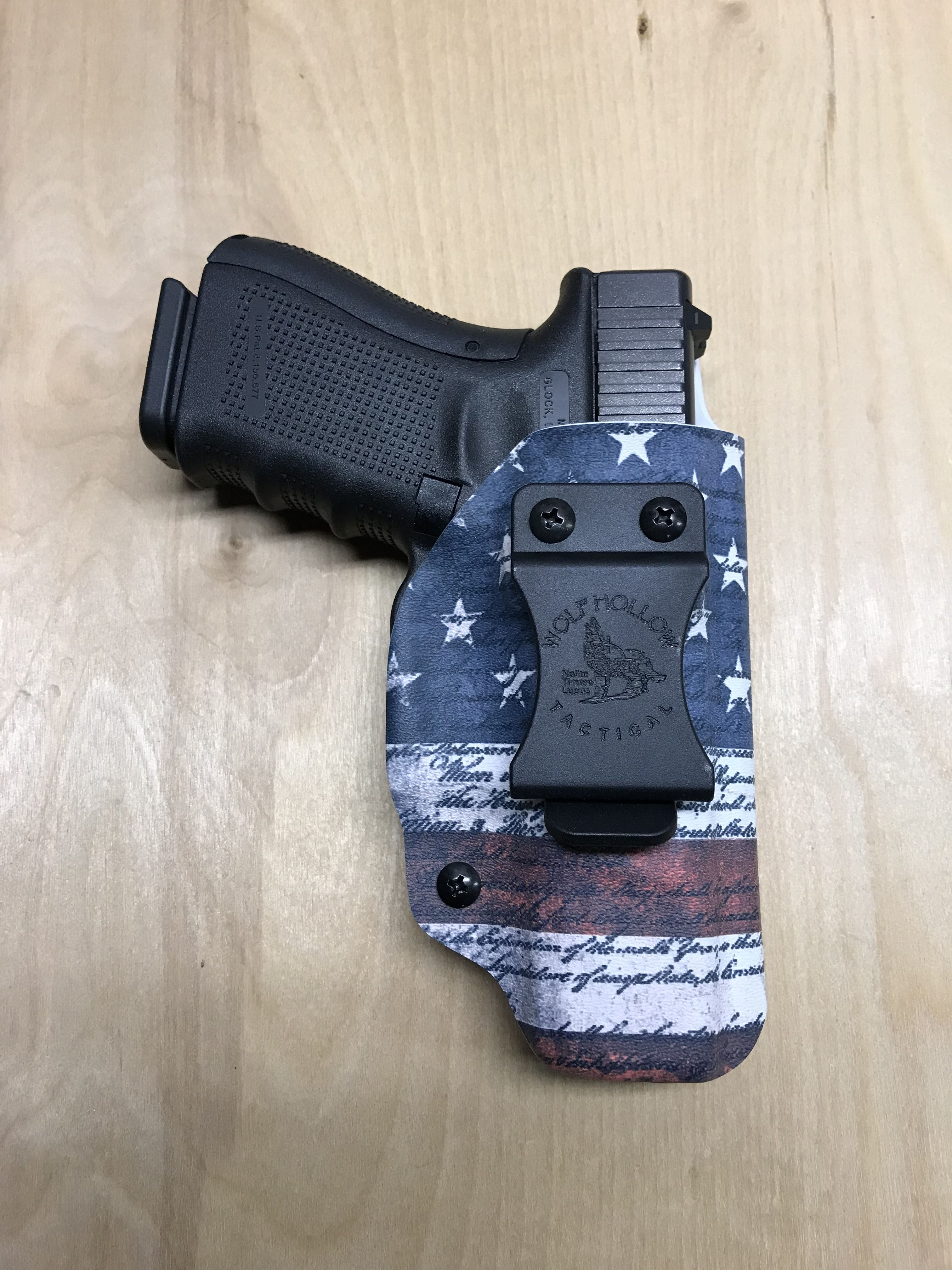 Glock 19 IWB holster in we the people American flag Infused