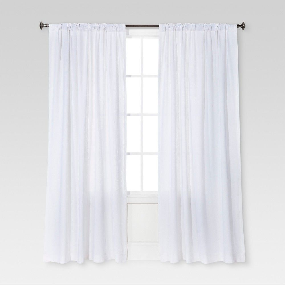 Linen Look Curtain Panel White Threshold In 2020 White Paneling Living Room Decor Curtains Curtains