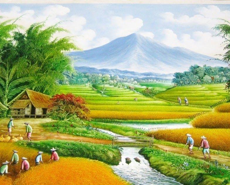 Fantastis 30 Lukisan Pemandangan Sawah Dan Gunung Lukisan Pemandangan Sawah Dan Gunung Yang Begitu Indah Gambar Dan Lukisan Pe Di 2020 Pemandangan Gambar Pegunungan