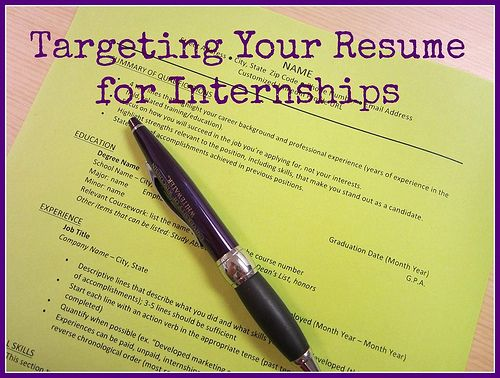 How to Target Your Resume for Internship Applications UW - target resume