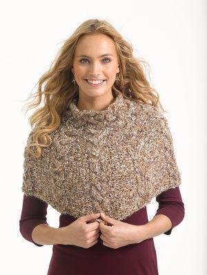 6db0ac4e05b9f8 Free Knitting Pattern L32259 Cabled Capelet   Lion Brand Yarn Company
