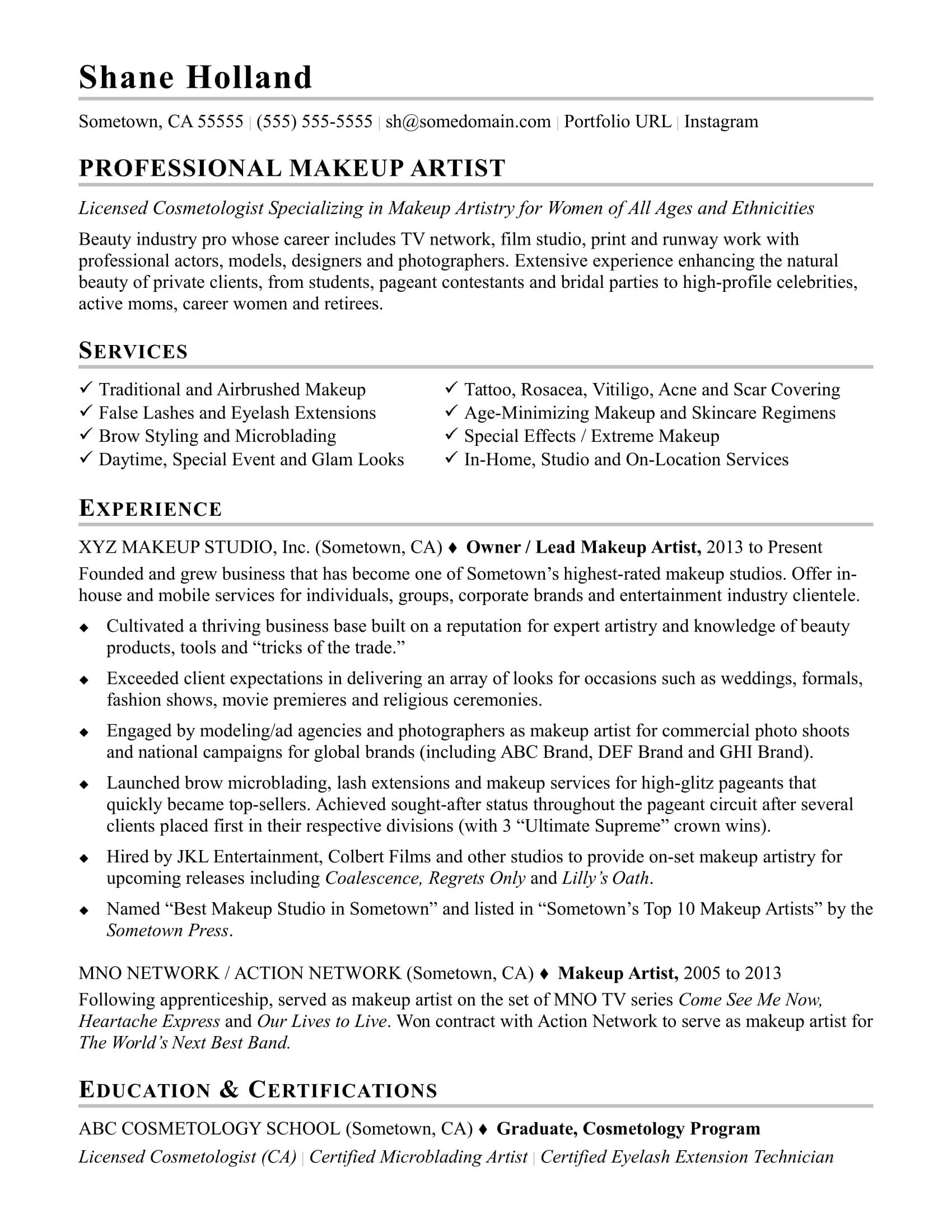Makeup Artist Resume Sample Makeup artist resume