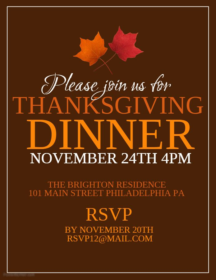 Thanksgiving Dinner Invitation Flyer Template Thanksgiving Poster