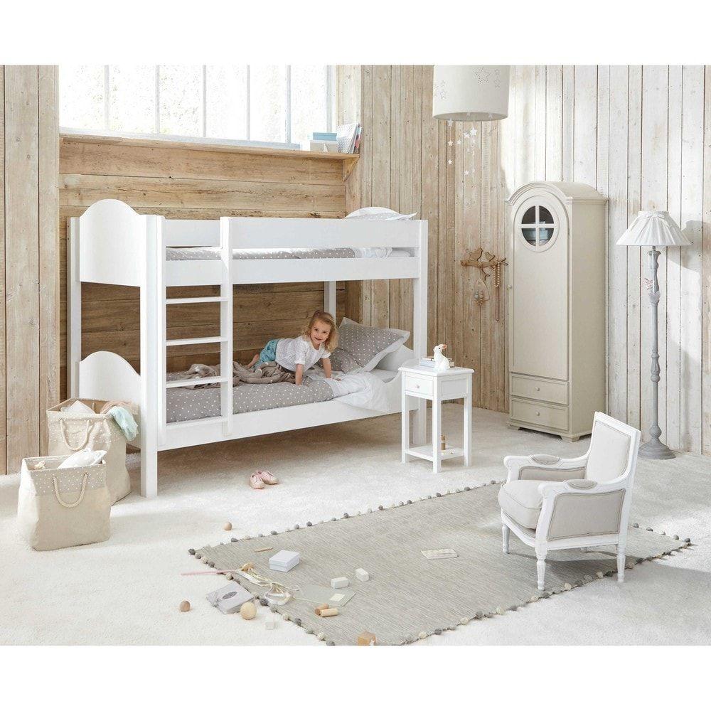 Lit superposé 90x190 en bois blanc Pastel | Maison du monde ...