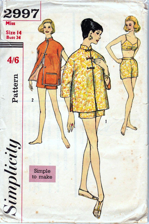 1950s vintage sewing pattern simplicity 2997 bra shorts 1950s vintage sewing pattern simplicity 2997 bra shorts cheongsam jacket lingerie or swimwear jeuxipadfo Choice Image