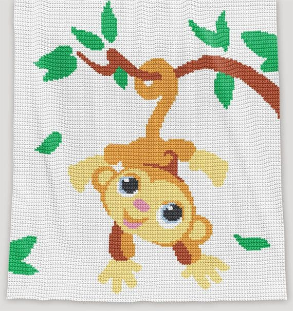 CROCHET Pattern Baby Blanket Monkey Crochet Graph | kinder- und ...