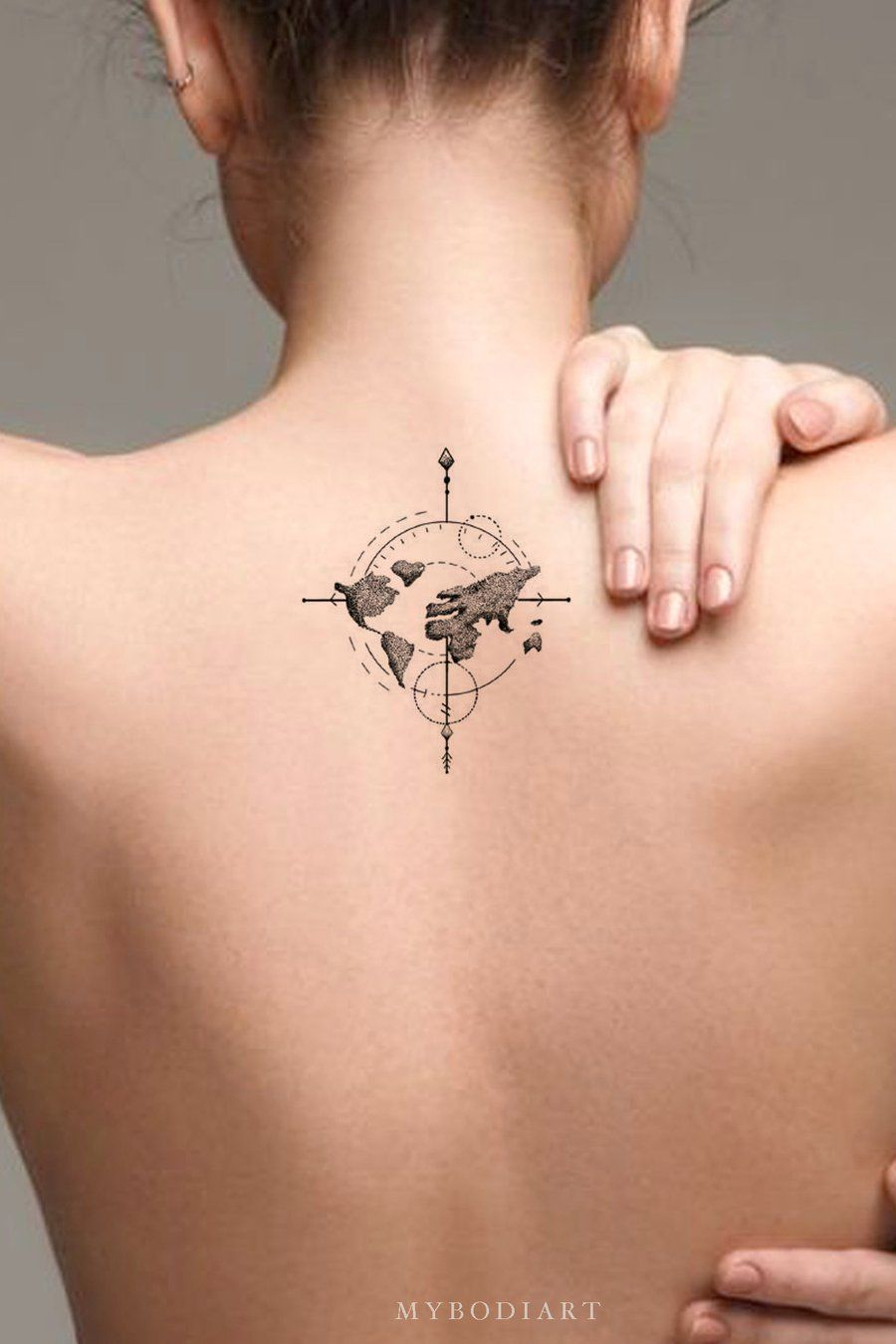 Photo of Artemis Small Minimal Arrow Compass Map Temporary Tattoo