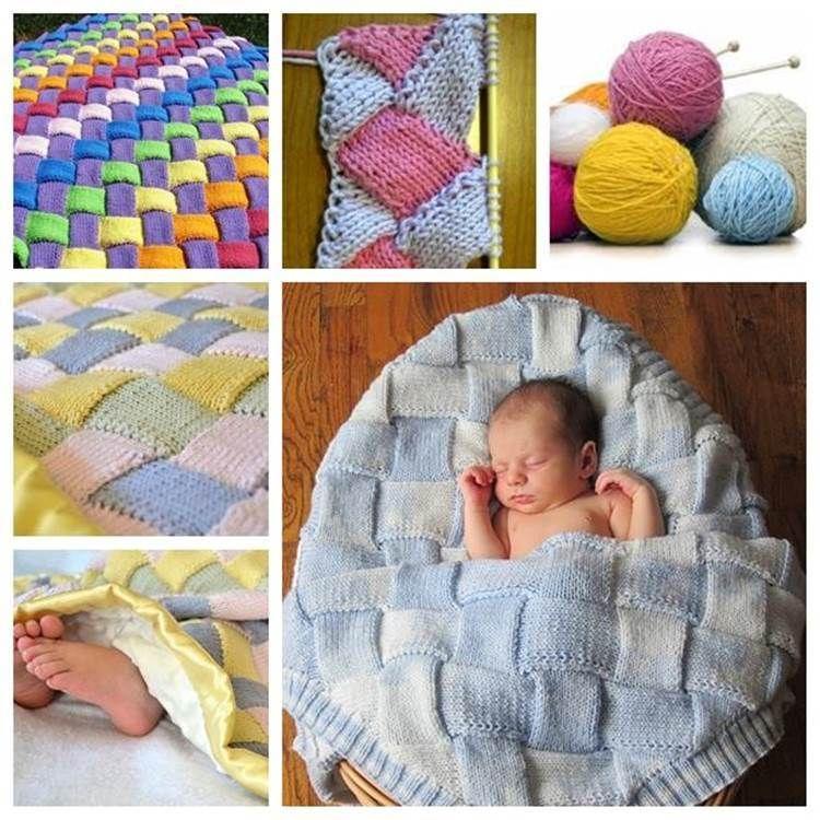 DIY Colorful Entrelac Knitted Baby Blanket | Entrelazados, Tejido y ...