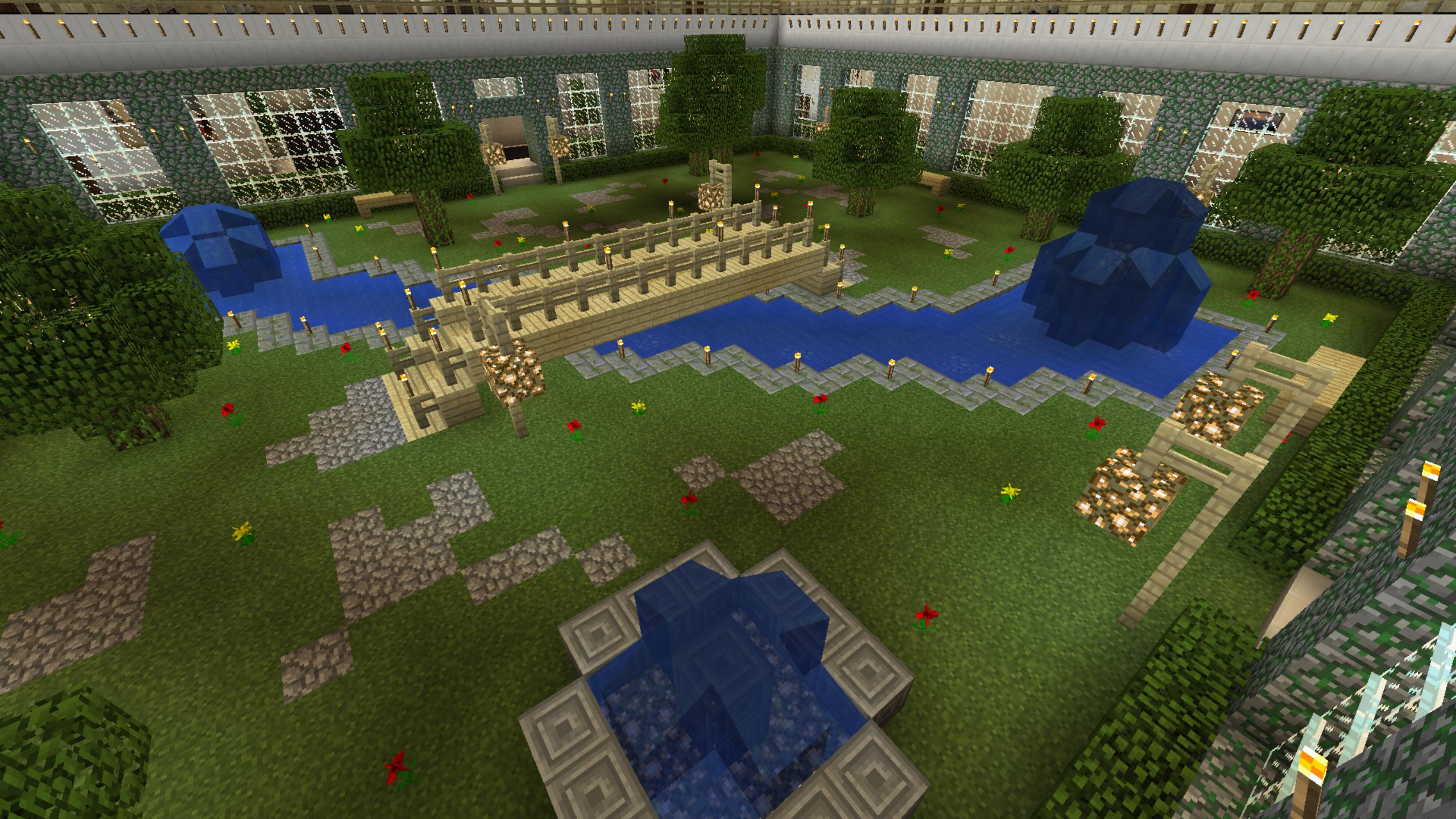 Minecraft Garden River Flowers Bridge Pond Water Fountain Fall