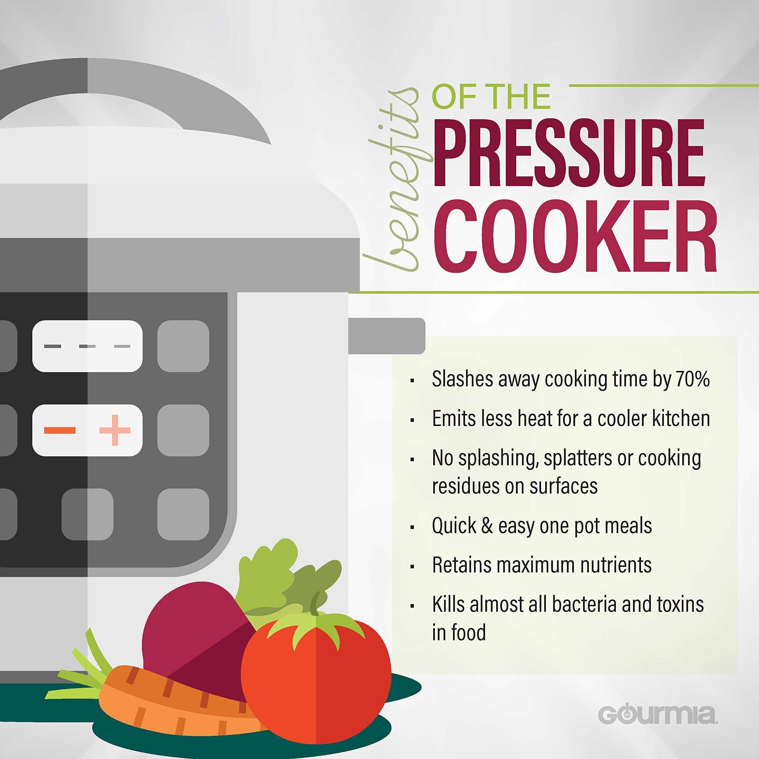 Removable Pot Gourmia GPC400 4 Qt Digital Multi-Mode SmartPot Pressure Cooker LCD Display Pressure Sensor Lid Lock 13 Cook Modes Recipe Book 24-Hour Delay Timer Automatic Keep Warm