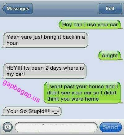 #Hilarious Text Message About Friend vs. Car - Funny Texts #funnytextmessages