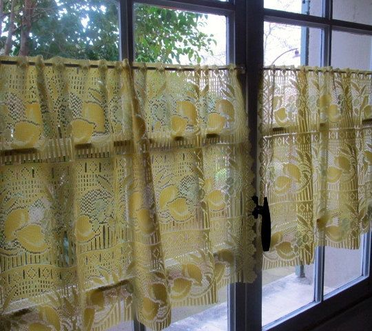 yellow cafe curtains, pair lemon lace curtains, sheer curtains