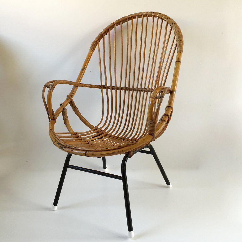 Retro Vintage Rattan Tall Wicker Chair Metal Feet   Fauteuil Rotin Vintage  Retro Haut Pieds Metal