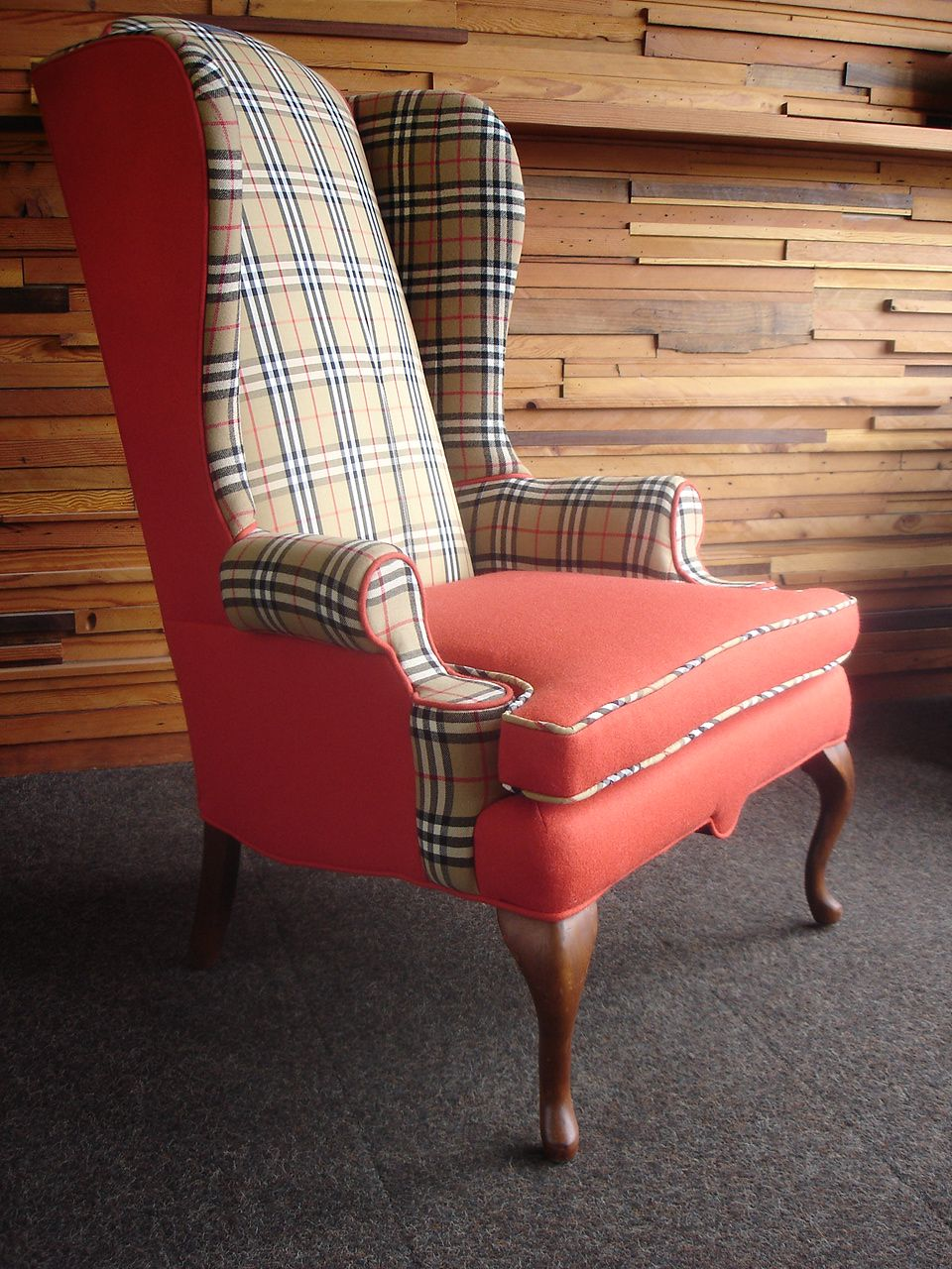 Wingback Chair reupholstered with Burberry skirt and jacket and ...
